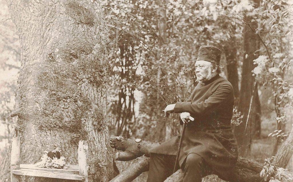 Der alte Pastor Sengelmann sitzt auf Baumstamm, hier rechts. Er hat seine Unterarme stützend auf einem Gehstock abgelegt, sein Blick ist nach links gerichtet. Links im Bild steht ein Baum, im Hintergrund Gebüsch.